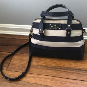 Kate Spade Striped Canvas & Leather Satchel